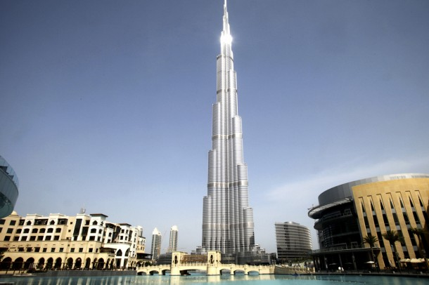 The Burj Khalifa, which houses the Armani hotel, stands in Dubai, United Arab Emirates, on Tuesday, April 27, 2010. Emaar Properties PJSC, which today opened its first hotel with fashion designer Giorgio Armani in Dubai, plans to build a second one in Milan, Chairman Mohamed Alabbar said. Photographer: Gabriela Maj/Bloomberg