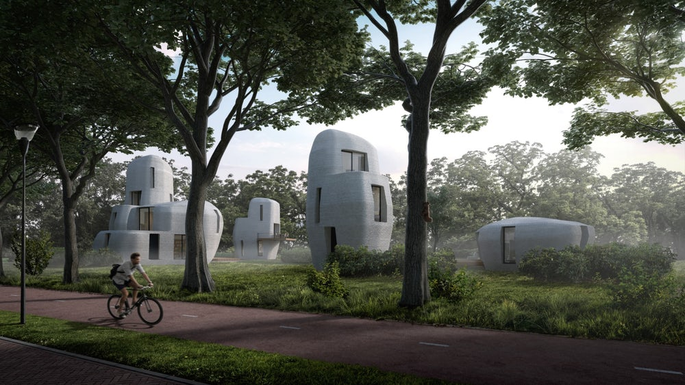 3D-printed stone-shaped house