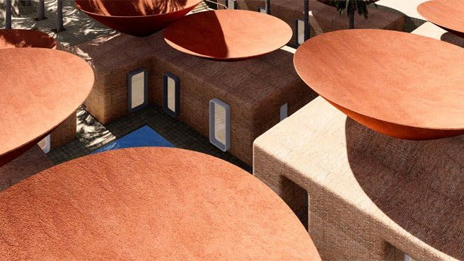 Concave Roof Collects Rain Water And Also Keeps Your House Cool