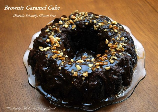 A gluten free, diabetic friendly Brownie Caramel Cake that fits into a Trim and Healthy Lifestyle. (Gluten Free, Diabetic Friendly)