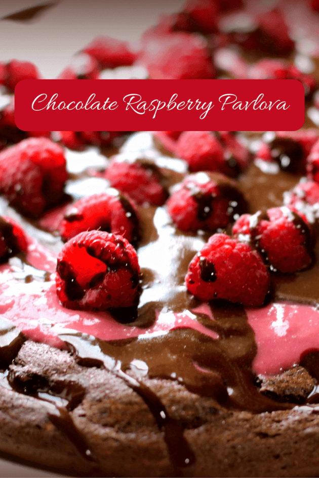 Chocolate Raspberry Pavlova (THM S, Low Carb, Sugar Free) This Pavlova is rich and chocolately with raspberry curd, fresh raspberries and handy chocolate sauce.