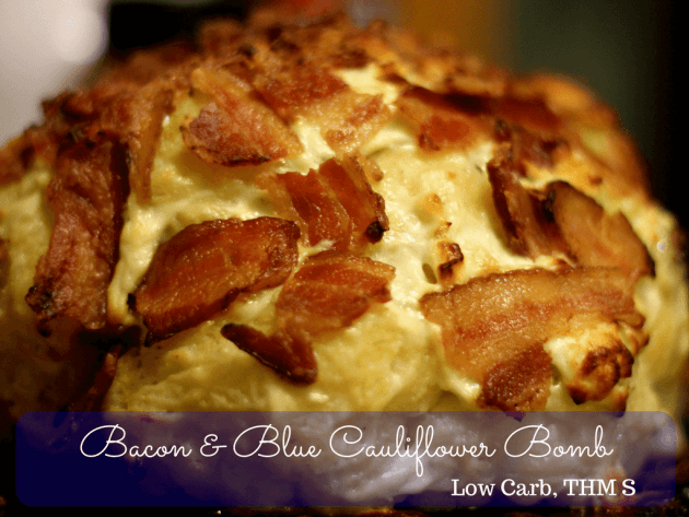 This Bacon & Blue Cauliflower Bomb is an amazing low carb or THM S side dish that is sure to impress!!