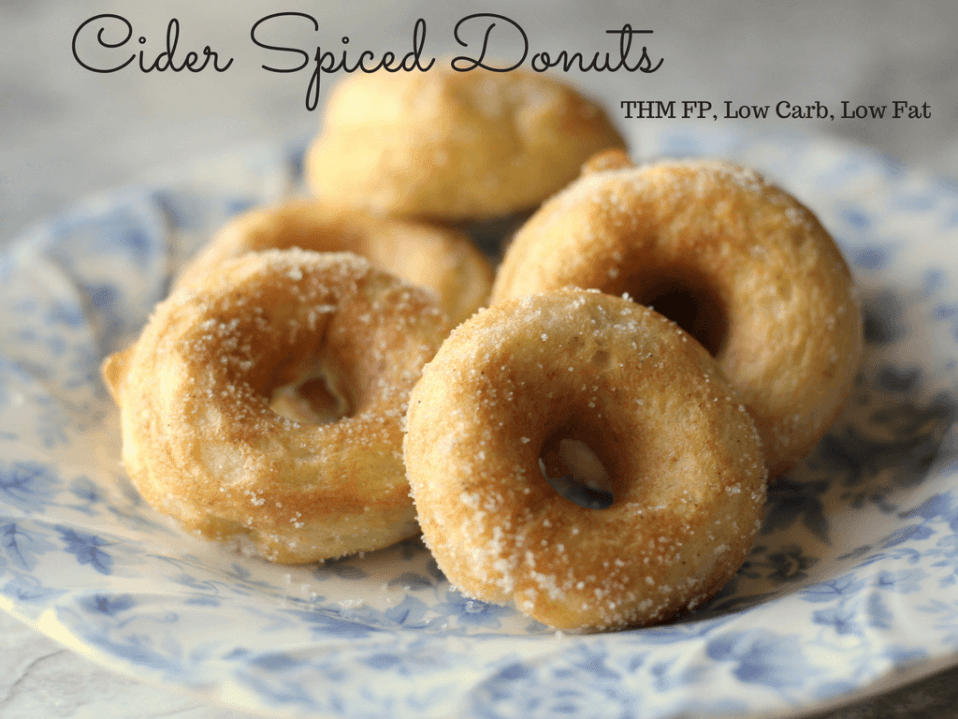 Cider Spiced Donuts that are a great fuel pull snack dessert or breakfast while following a Trim Healthy Mama Lifestyle.