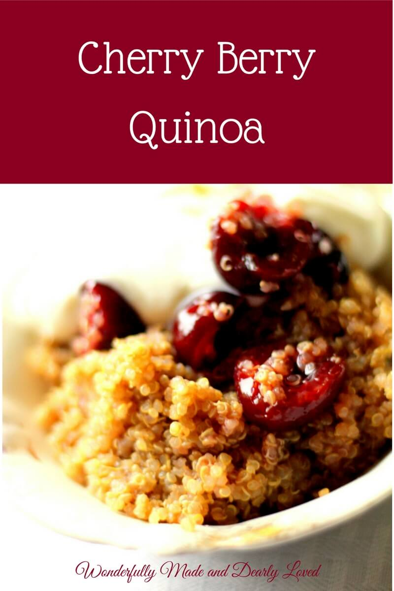 Cherry Berry Quinoa (THM E, NSI, Low Fat) This low fat Cherry Berry Quinoa is great for breakfast or as a sweet treat. Packed full of healthy carbs and just enough protein not to spike your blood sugar.