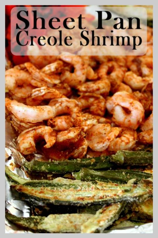 Sheet Pan Creole Shrimp dinner that is quick and easy to prepare.