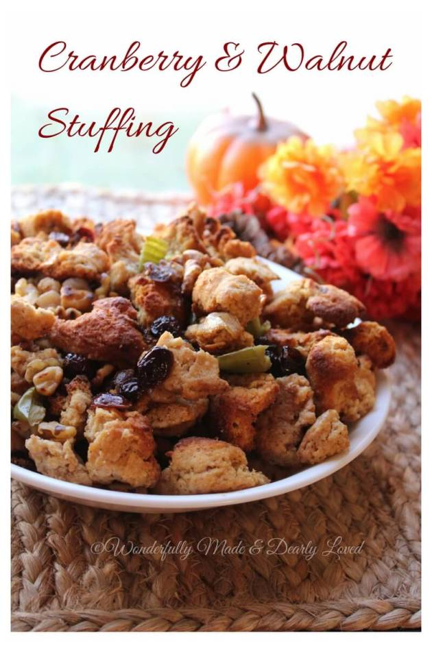 An amazingly healthy cranberry walnut stuffing to grace your Holiday table.