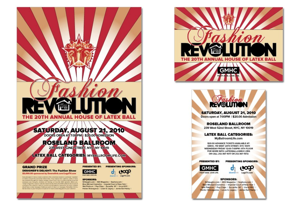 """GMHC's """"Fashion Revolution"""" poster for the House of Latex Ball - Wonder Interactive Media"""