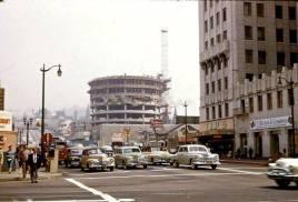 Capitol Records building under construction. Mid 50s.