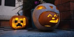 carved pumpkins on a doorstep