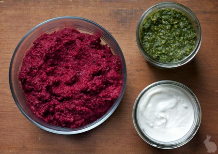 Beet Hummus and Chutney