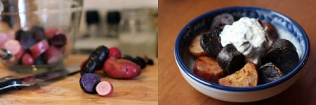 Roasted Purple and Red Potatoes with Herbed Garlic Yogurt