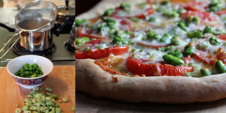 Tomato, Fava Bean, and Spring Onion Pizza