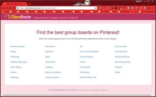 Pinterest group boards categories on BoardBooster