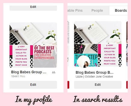 Group boards in a profile vs in Pinterest search