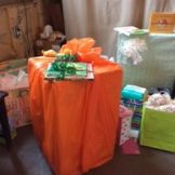 My Aunt Sharon even wrapped her gift to look like a pumpkin!