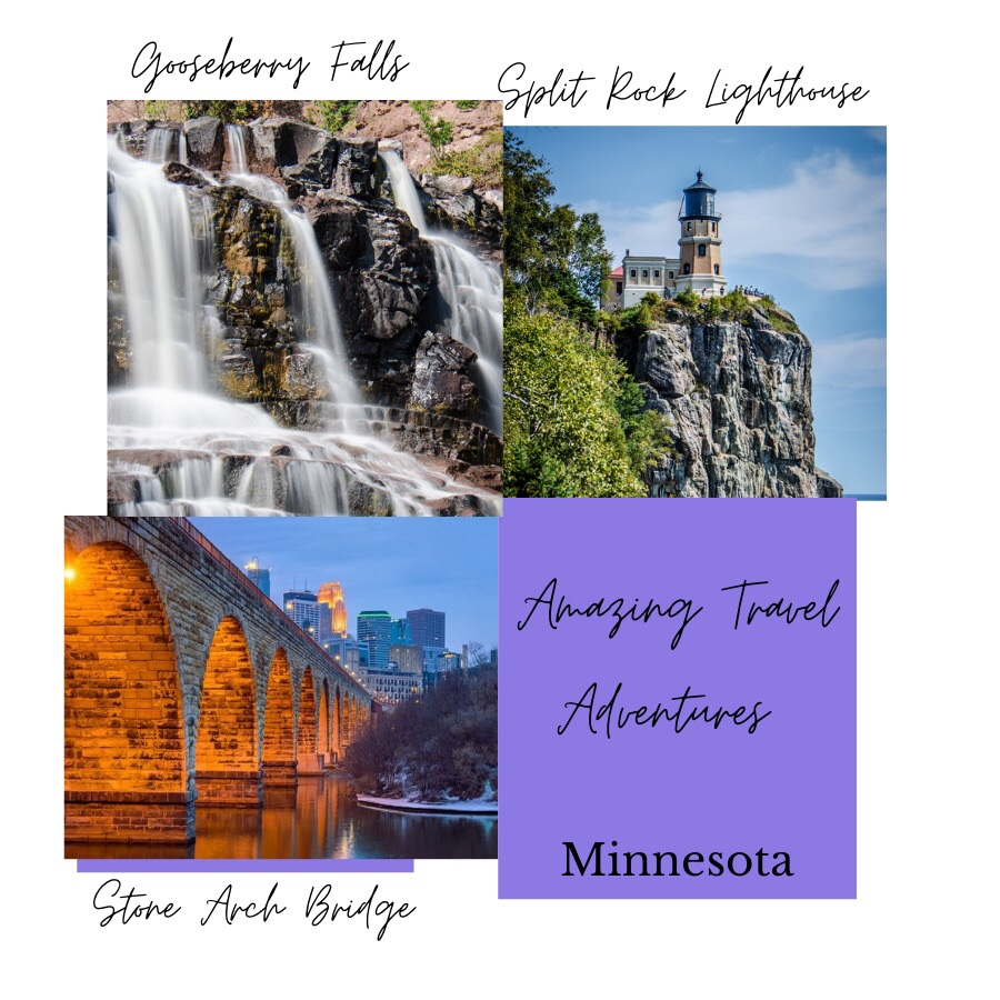 Photos show three other photos for Amazing Travle Adventures Minnesota. Photo upper left shows Gooseberry Falls in Two Harbors, Minnesota. Photo upper right shows Split Rock Lighthouse on a cliff and surrounded by water. Photo lower left shows Stone Arch Bridge leading into the city of Minneapolis Minnesota.