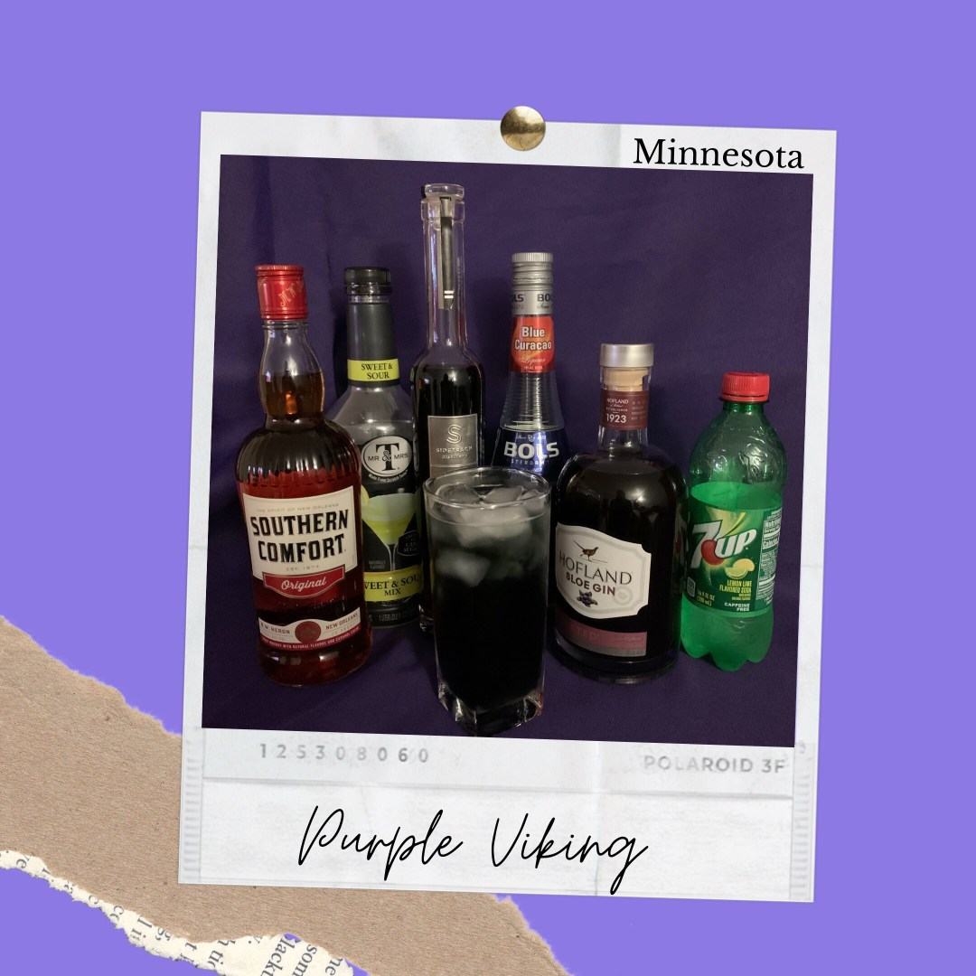 Best Drinks Minnesota photo shows ingredients to create a Purple Viking. Ingredients shown are Southern Comfort, Sweet and Sour Mix, Blueberry Liqueur, Blue Curacao, Sloe Gin and 7up.
