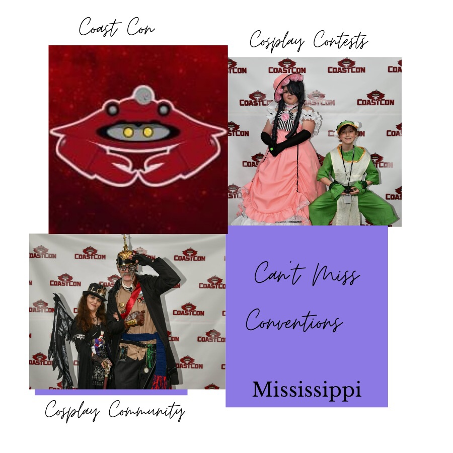 Photos showing Coast Con Can't Miss Conventions Mississippi. Photo upper left shows Coast Con icon, a red crab. Photo upper right shows a young girl and a young boy dressed up in cosplay costumes. The young girl is wearing an old fashioned pink dress with bustle, black gloves and pink hat. The young boy is wearing a green and white gaming character costume. Photo lower left shows two adults dressed up in cosplay costumes. The adult woman is wearing Steam Punk dress with corset, top hat and bat wings. The adult man is wearing a Steam Punk military outfit with goggles and hat with spike on top.