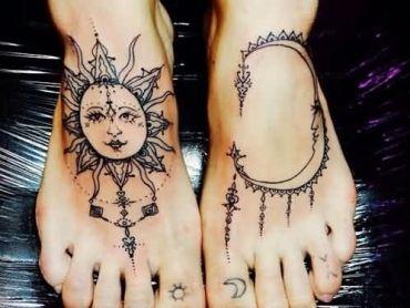 tumblr-sun-and-moon-tattoos-on-feet