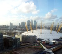 Views of the O2 and Canary Wharf