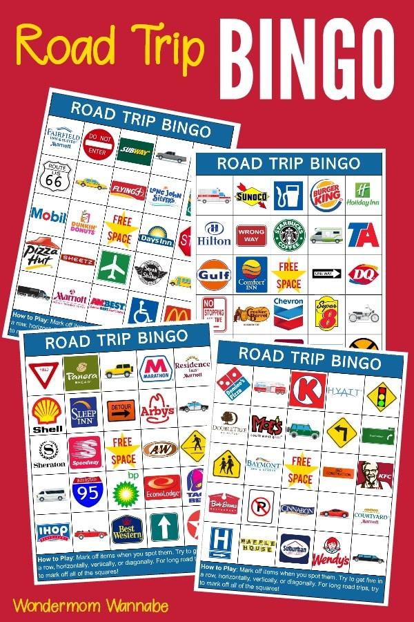Printable Road Trip Bingo Cards