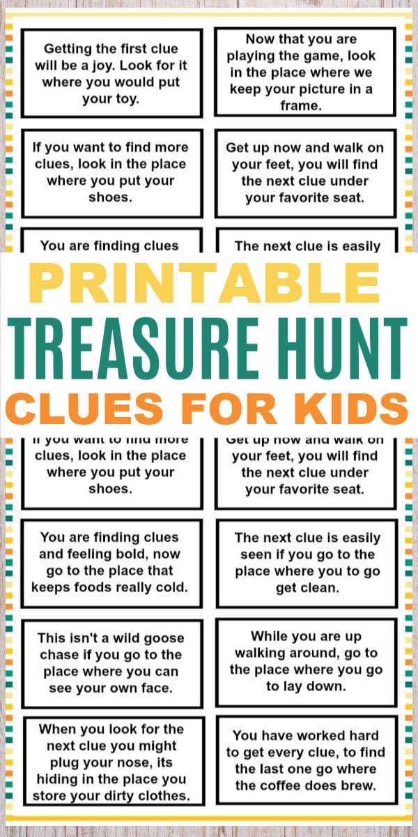 Treasure Hunt Clues For Kids