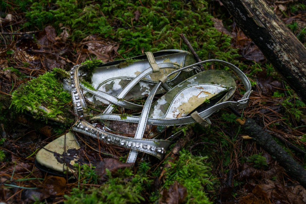 A pair of heels found close to a noose in Japan's haunted suicide forest known as Aokigahara. The heels are deteriorating with moss growing on them.