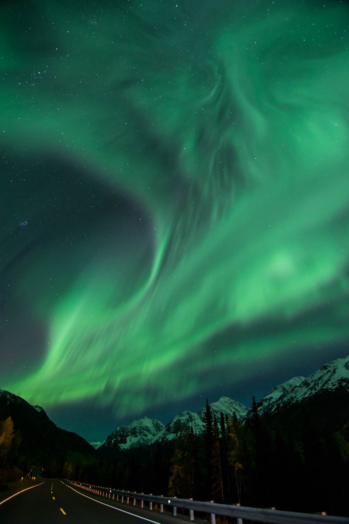 Bright green northern lights burst over a forest road in alaska. A street light illuminates the road. Stars shine overhead. The orientaion is vertical