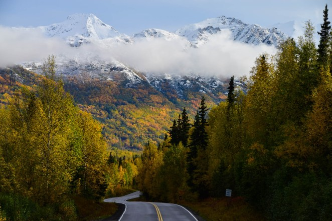 A winding road cuts through the fall colors of Alaska's forest. The Autumn forest, complete with yellow and orange leaves. makes its way up a large snow-capped mountain in Eagle River, Alaska.