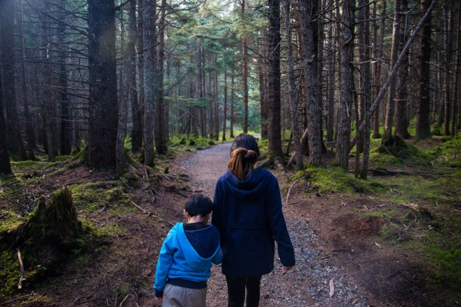 A young mother guides her 5 year old child through a densly wooded forest near Girdwood Alaska. They are seen from the back holding hands.