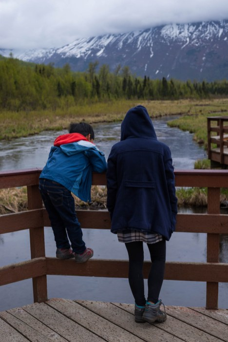 A young boy joins his mom by climbing a wooden fence so that he can look down at a river in alaska. It is raining slightly and gloomy.