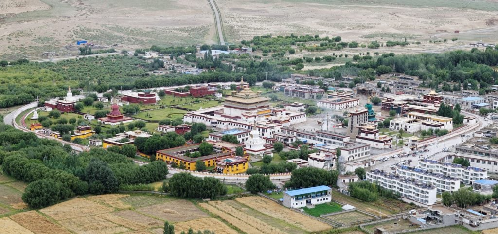 Aerial view on Samye Monastery in Tibet