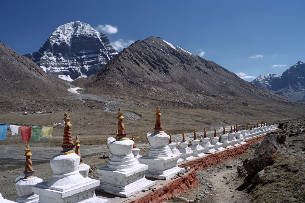 Mt Kailash and stupas at the Dira Puk monastery