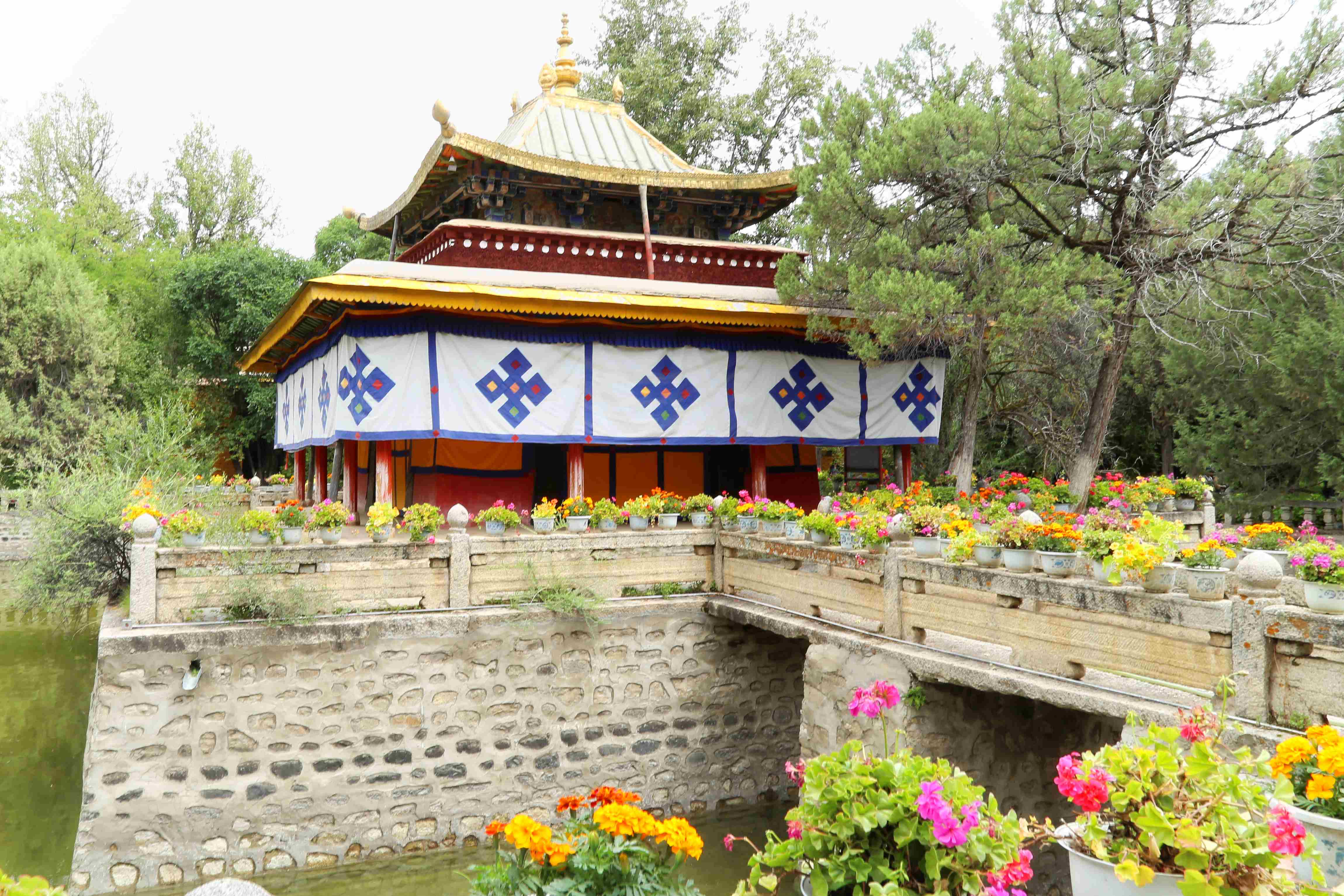 Lake in Norbulingka Park in Lhasa, Tibet