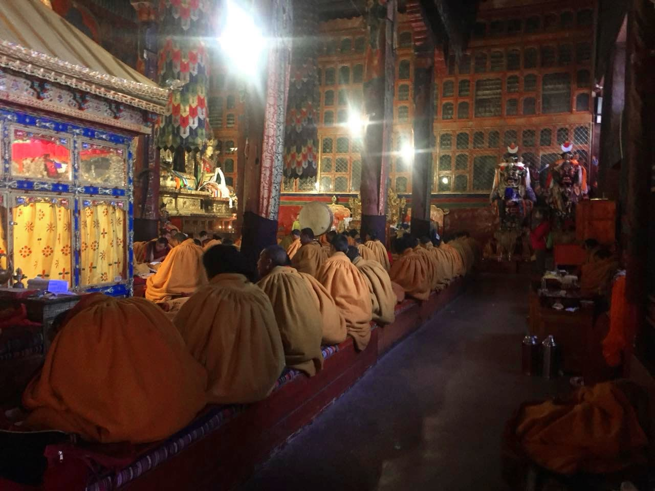 Monks chanting in Sakya monastery in Tibet