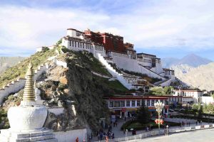 Potala Palace seen from the Chak Pori Hill in Lhasa Tibet