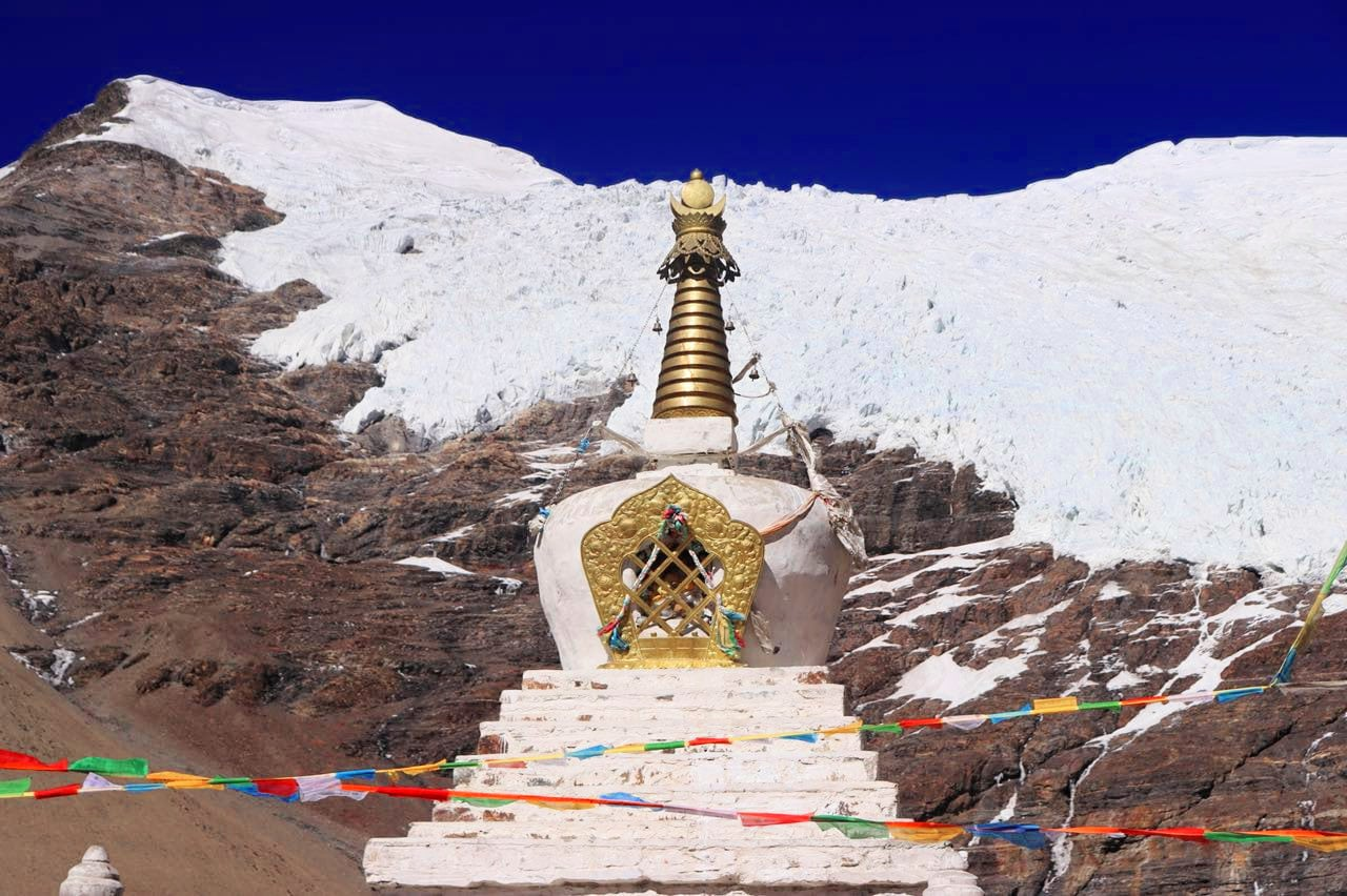 Stupa in front of Glaciers in Tibet
