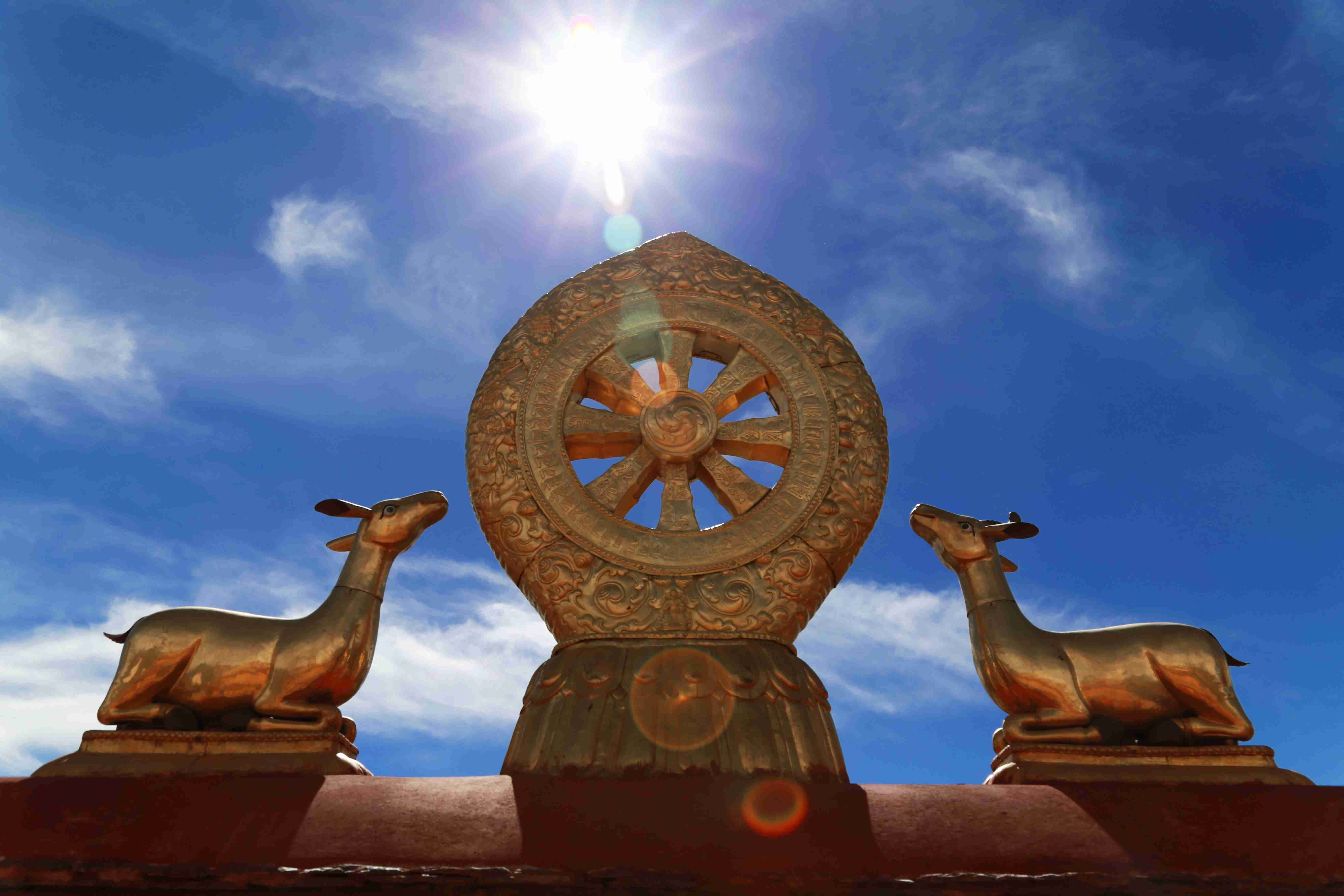 Two listening deer and the wheel of Dharma Jokhang Temple