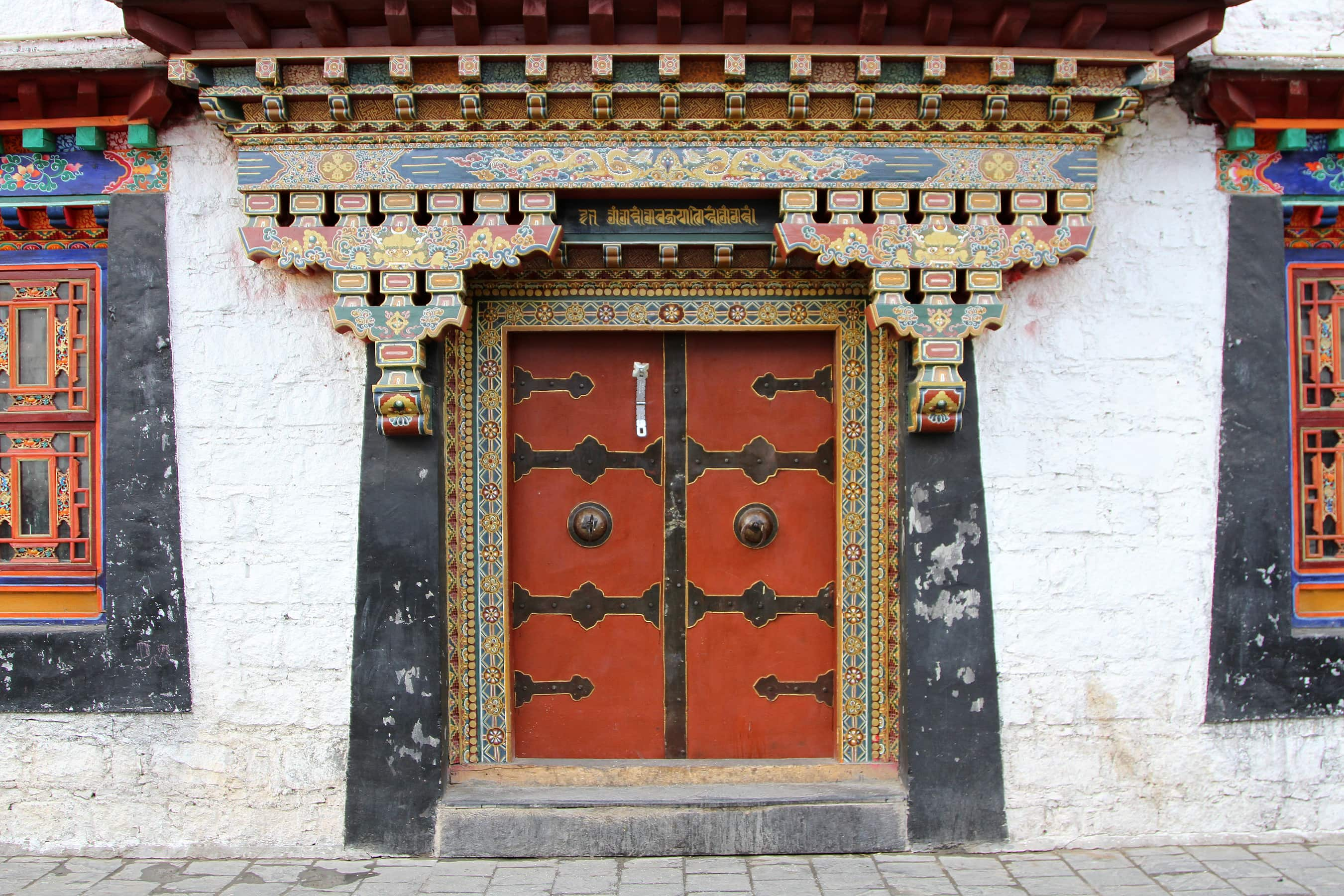Colorful Tibetan door in Lhasa