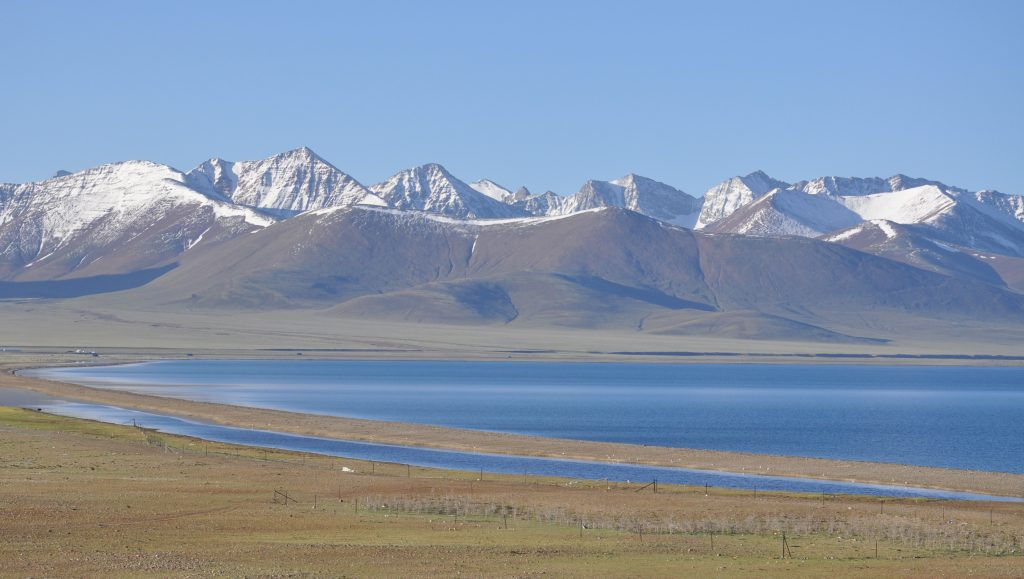 Namtso lake in Tibet with maountain on the background