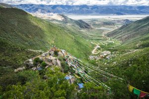 Yarlung Tsanpo valley seen from the Chimpu Caves in Tibet