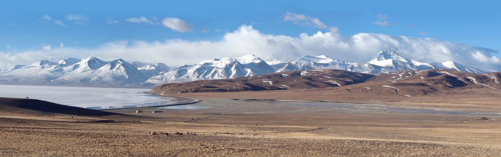 Panorama of Lake Manasarovar in Ngari, Western Tibet