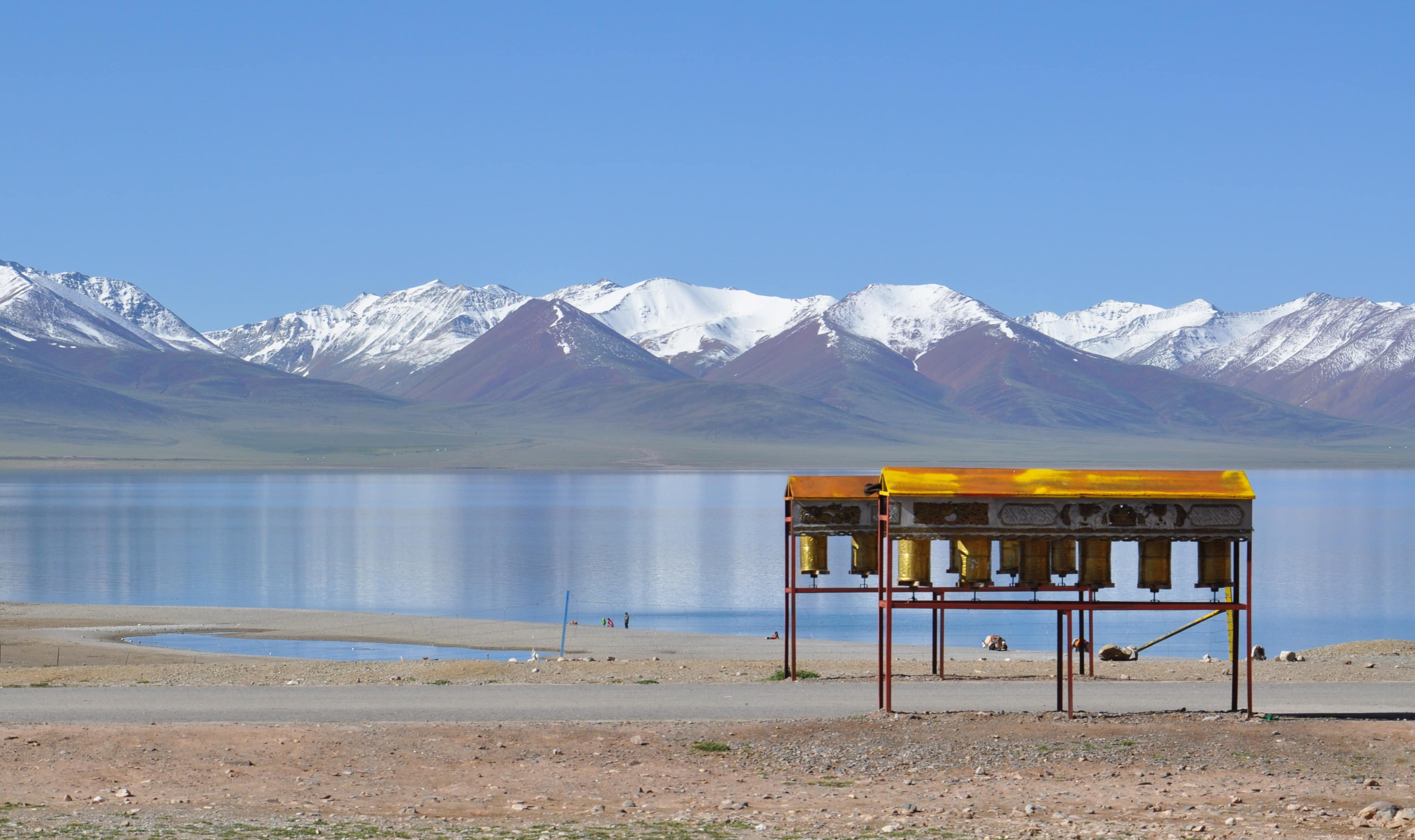 Prayer wheels by the Namtso lake in Tibet