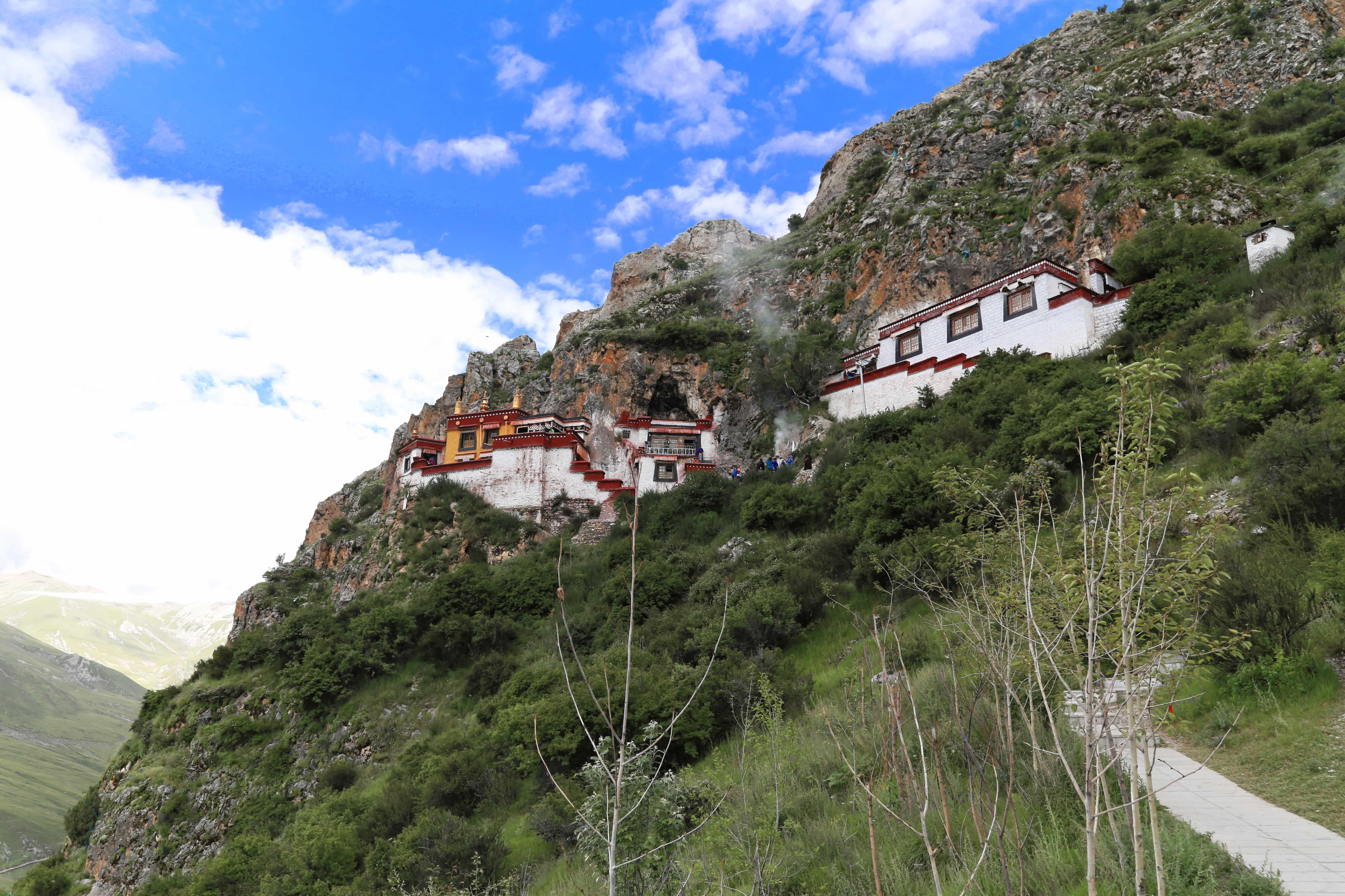 View on Drak Yerpa temples and caves