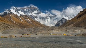 Mount Everest North Side in Tibet and climbers tents