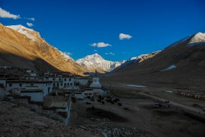 Rongbuk monastery with Everest on the background