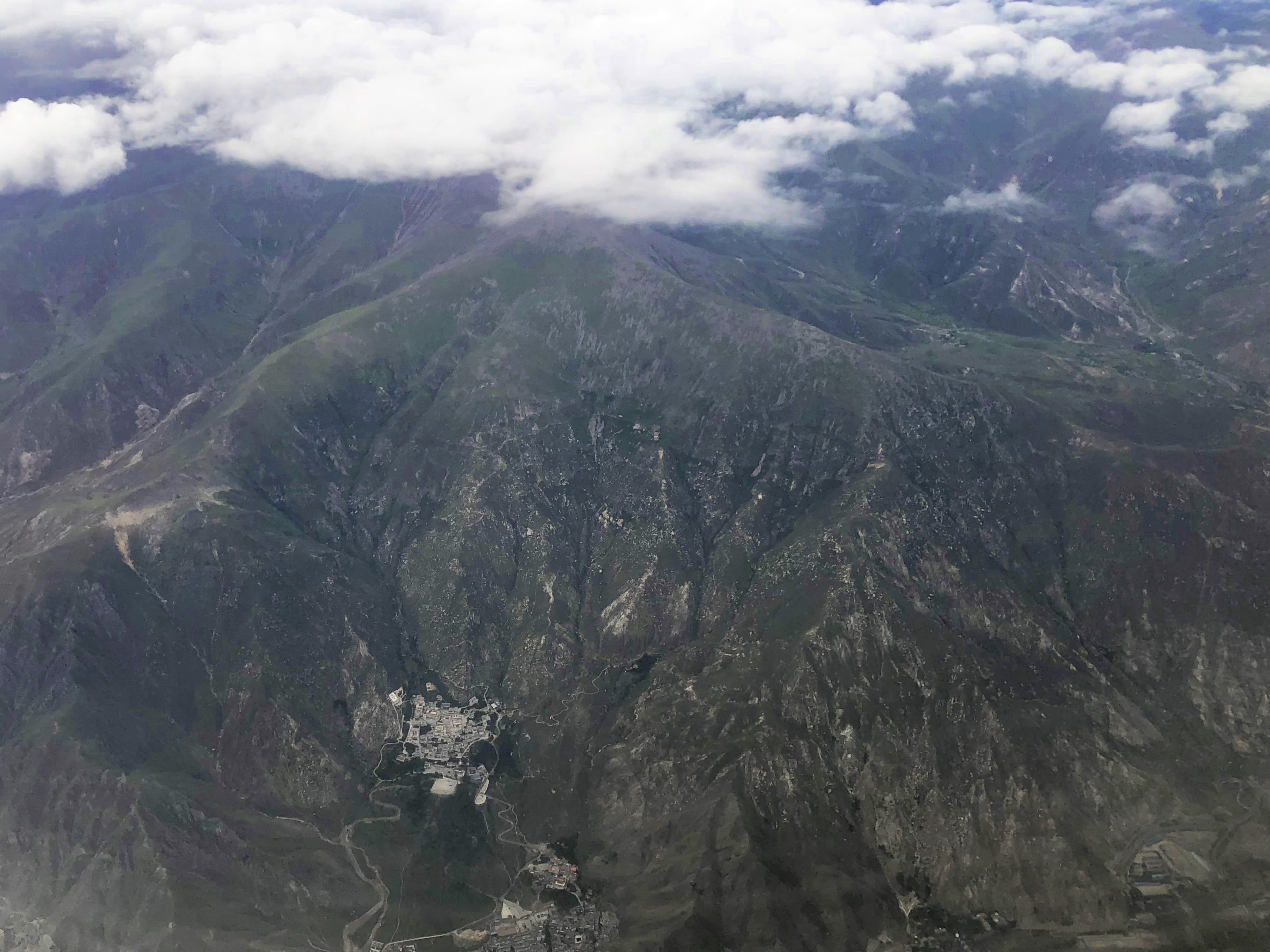 Flying over Drepung monastery in Lhasa