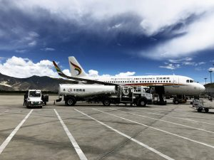 Tibetan airlines in Lhasa Gonggar airport