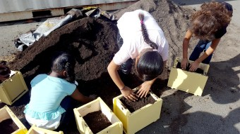 Students pack soil into their planter boxes