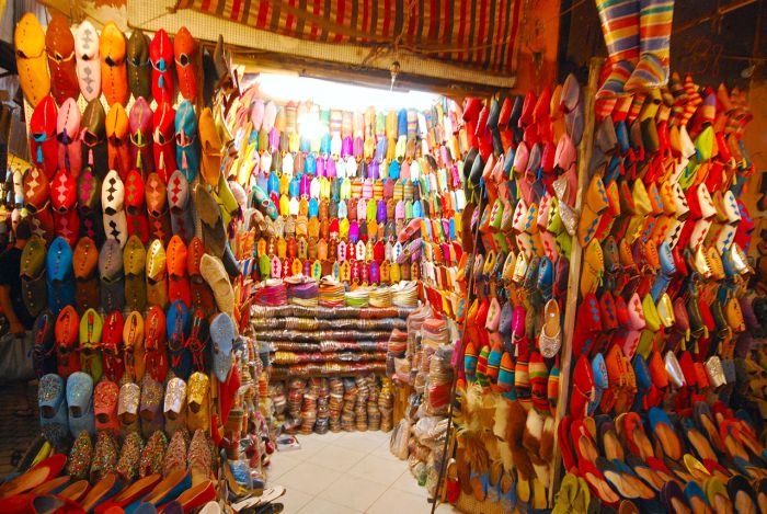 Leather goods in souks, Marrakech Morocco